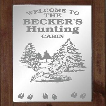 Deer Hunting Cabin Custom Personalized Etched Bar Mirror Glass Pub Signs Man Cave Decor