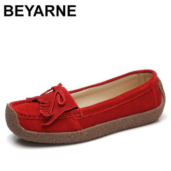 BEYARNE Women Loafers Suede Genuine Leather Loafers Soft Flats Moccasin Casual Female Slip On Tassel Boat Zapatos Mujer