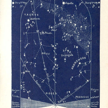 1883 Star Maps, February Constellations and Stars Maps, Antique Astronomy Prints, Set of 4
