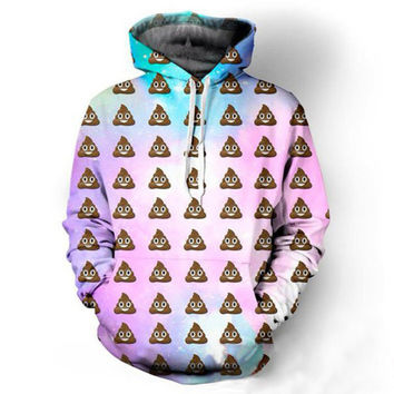 Emoji Poop Galaxy Hoodie Love Pink Galaxy Space 3D Print Sweatshirts