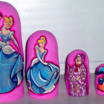 Cinderella traditional russian nesting doll toy made curved painted hand collectible souvenir wood linden holiday birthday gift decorat