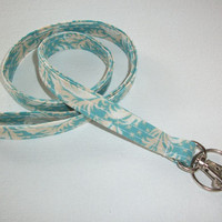 Lanyard  ID Badge Holder -  Lobster clasp and key ring New Thinner  Design -  blue teal feathers
