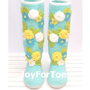 Crochet Shoes for the Street, Light Blue Spring Flowers Boots, Handmade Folk Tribal Boots, Boho Style, Made to Order
