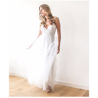 Wedding Ivory Wrap Maxi Tulle Dress LAVELIQ