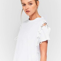 Light Before Dark Lace-Up Sleeve T-Shirt | Urban Outfitters