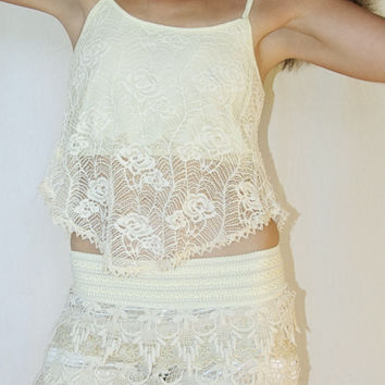 Lace Top in Cream with Inner lining