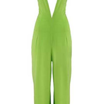 Light Green Halter Neck Chest Cut Out Backless Jumpsuit