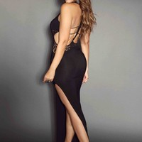 Black Sleeveless Side Slit With Crochet Lace Detail & Strappy Cutout Back Sexy Maxi Dress