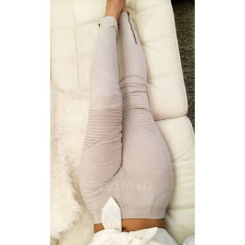 Light Grey Biker Pants - Jaide Clothing