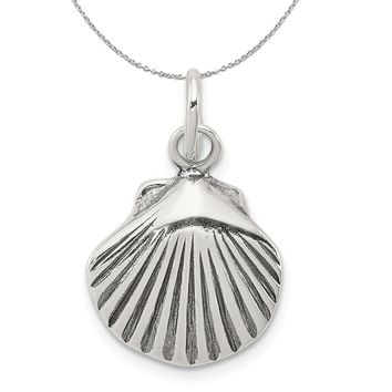 Sterling Silver 15mm Antiqued Seashell Charm or Necklace
