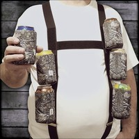 "Six Pack Suspenders with 6 Detachable ""Big Woody Camo"" 12oz. Can Coolies"