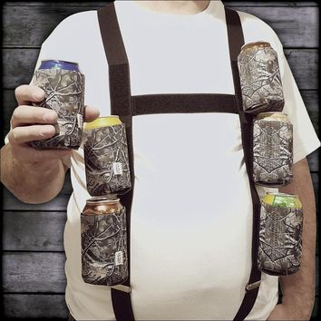 """Six Pack Suspenders with 6 Detachable """"Big Woody Camo"""" 12oz. Can Coolies"""