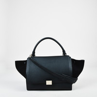 "Celine Black Leather Suede Paneled Winged Medium ""Trapeze"" Tote Bag,fine wanelo ladies handbag chanel"