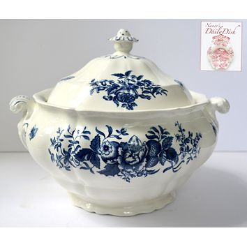 Vintage Blue & White Fruit Bees & Peonies Roses English Transferware Soup Tureen Booths
