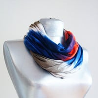 Handmade Tie-Dye Infinity Scarf - Summer Scarf - Red Navy Blue Creme Brown - Cotton Jersey