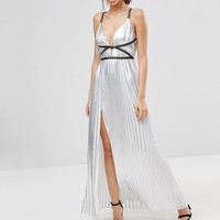 True Decadence Silver Metallic Pleated Maxi Dress