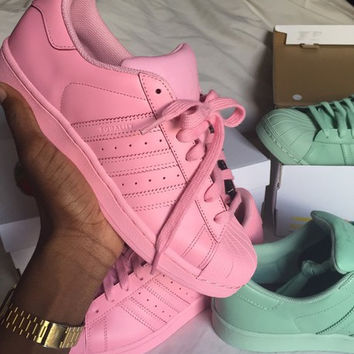 """Fashion """"Adidas"""" Shell-toe Flats Sneakers Sport Shell-toe Pure color Shoes (7-Color) Pink"""
