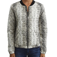 White Snake Skin Pattern Print Long Cuff Sleeve Jacket