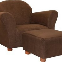 KEET Roundy Child Size Chair with Microsuede Ottoman, Brown, Ages 2-5 years