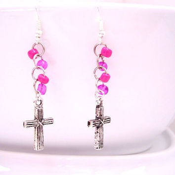Religious Earrings - Dangle Cross Earrings - Christian jewelry