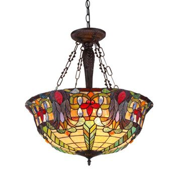 """RILEY Tiffany-style 3 Light Inverted Ceiling Pendant Fixture 22"""" Shade"""