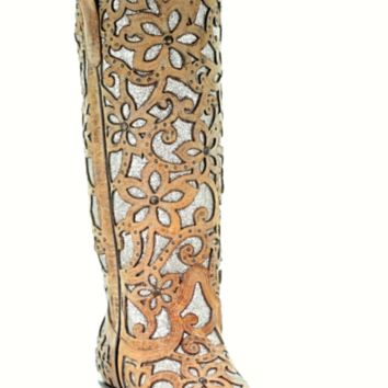 Corral Sand Floral Glitter Inlay Boots