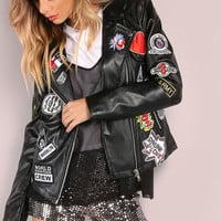 Multi Patch Faux Leather Jacket BLACK | MakeMeChic.COM