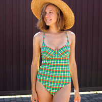 Neon Plaid WASSERSTOFF Swimsuit / German Vintage Multicolour Matte to Touch One Piece Bodysuit w. Cups / Check, High Cut, Size MEDIUM