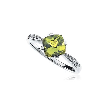 Cushion Peridot & .04 Ctw (H-I, I1) Diamond Ring in 14K White Gold