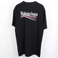 Balenciaga Tide brand loose men's and women's Cola striped T-shirt F0449-1 black