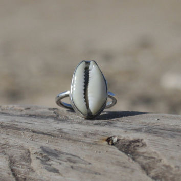 Cowrie Shell Ring, Sterling Silver Shell Ring, Bezeled Cowry Shell Ring, Seashell Ring, Handcrafted in Maui, Single Band Ring, Stacking Ring