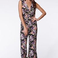 Lucca Couture Berry Floral Jumpsuit - Womens Dress - Floral