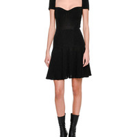 Alexander McQueen Metallic Armour Knit Corset Minidress, Black