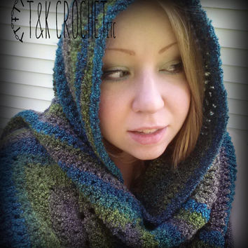 Warm Autumn Shawl Wrap in Grey, Green, and Turquoise