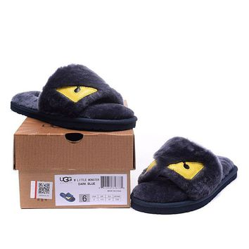 ESBON UGG Big Eyes Little Monster Slipper Women Men Fashion Casual Wool Winter Snow Boots Dark Blue