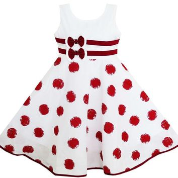 Girls Dress Wine Red Polka Dot Circle Double Bow Tie 2018 Summer Princess Wedding Party Dresses Girl Clothes Size 4-12 Pageant