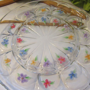 Vintage Hand Painted Floral Clear Glass  Serving Dish Platter Tray - Red, Blue, Orange, and Purple