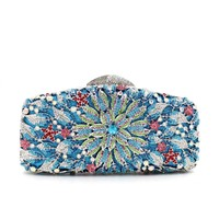 Rhinestone Bling Sakura Floral Clutch Bags For Womens Evening Bags
