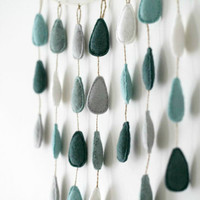 April Showers Felt Raindrop Wall Mobile // Rainy Day Showers // Gray Blue Aqua // Hand Stitched by OrdinaryMommy on Etsy