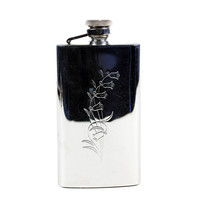 Ladies Purse Flask, Stainless 4-oz Size, Bluebell Engraved Pattern, Vintage