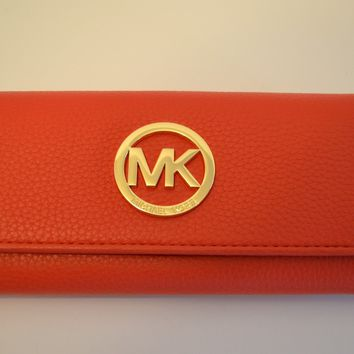 NWT MICHAEL KORS LEATHER FULTON CONTINENTAL FLAP WALLET SIENNA