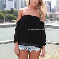OFF THE SHOULDER TOP , DRESSES, TOPS, BOTTOMS, JACKETS & JUMPERS, ACCESSORIES, 50% OFF SALE, PRE ORDER, NEW ARRIVALS, PLAYSUIT, COLOUR, GIFT VOUCHER,,STRAPLESS,Black Australia, Queensland, Brisbane