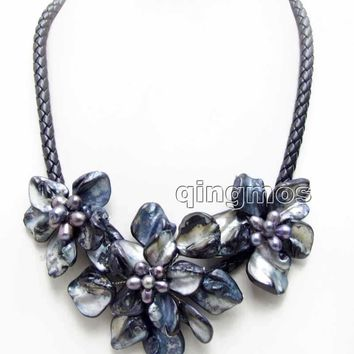 Big 1 piece 70mm and 2 piece 50mm Black Baroque Shell Flower and Natural Pearl pendant Black 6mm Rope 18'' Necklace-nec6365