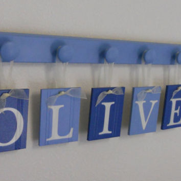 Alphabet Wall Letters Boy Baby Name Sign Personalized for OLIVER and 6 Wooden Knobs in Blue. Nursery Wall Art