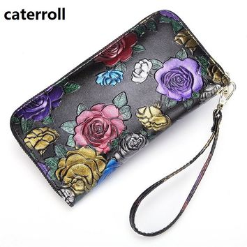 floral wallet women genuine leather clutch purse luxury brand long womens wallets and purses real leather ladies money bag