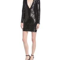 Iro Nobila Plunging Long-Sleeve Sequined Cocktail Dress