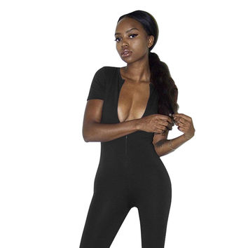 Black Deep-V Neck Short Sleeves Jumpsuit