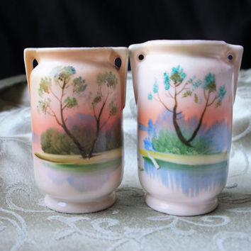 Set of 2 1920s Vintage Japanese Miniature Vases