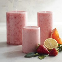 Pink Champagne Mottled Pillar Candles
