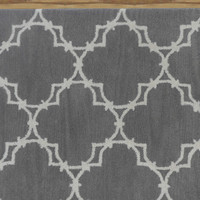 Trellis Gray Contemporary Style Handmade Woolen Area Rug Carpet